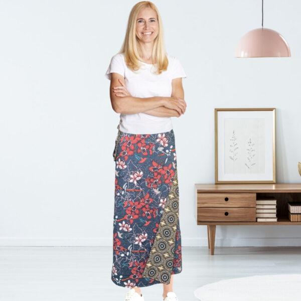 bird print maxi skirt